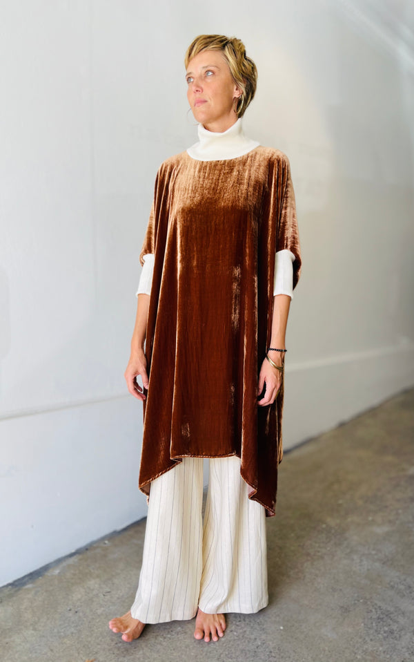 1- Golden brown velvet dress by Natalija Rushidi