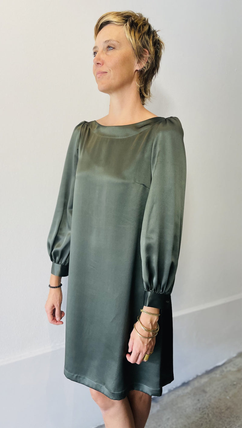 1- Mima dress in olive silk