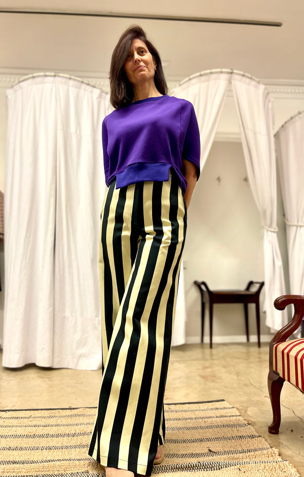 1- Striped pants by Natalija Rushidi