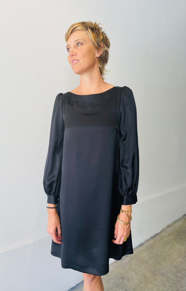 1- Mima dress in black silk
