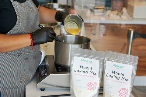 Eggs added to scorched manoa baking mix for mochi churro