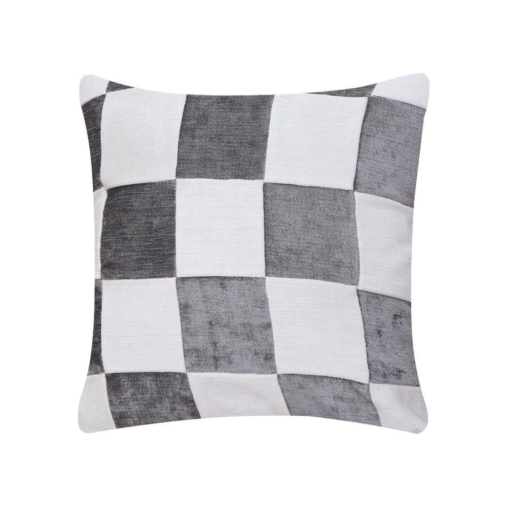 Grey and White Check Cushion Cover