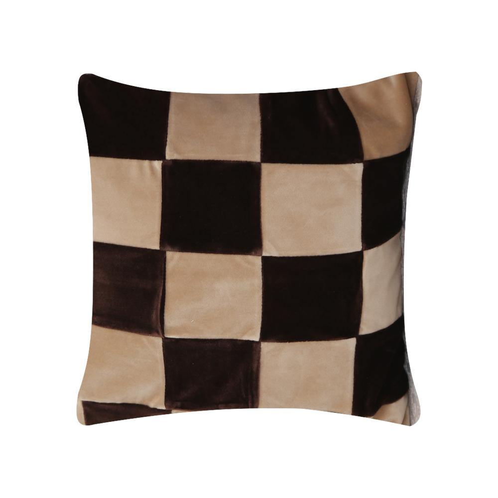 Brown Check Cushion Cover