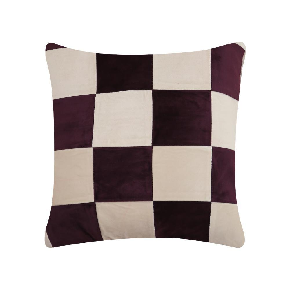 Maroon and White Check Cushion Cover