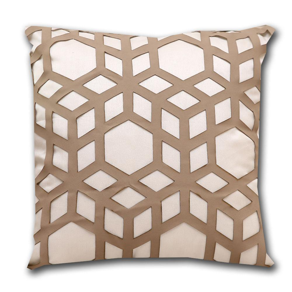 Hexa Aplic Leatherite Cushion Cover