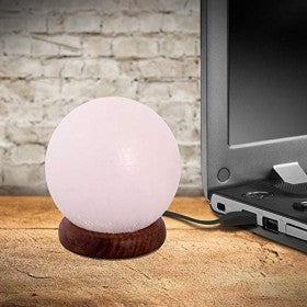 White Salt Lamp Ball Shape USB