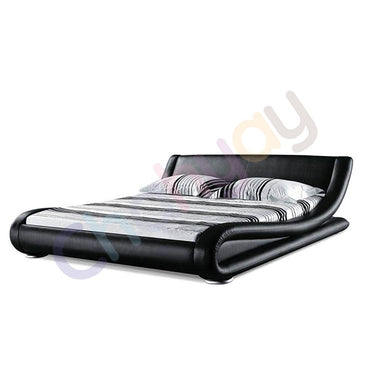 Leatherite Super King Bed Black 4