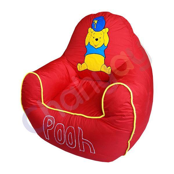 Pooh Red Motif Kids Bean Bag Sofa