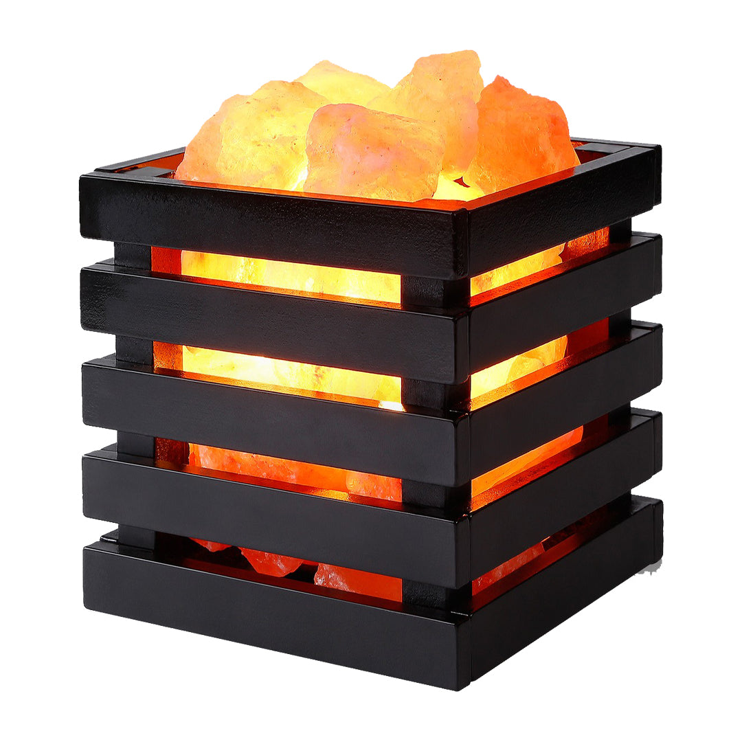 Wooden Cube Basket Lamp with Salt Chunks Large
