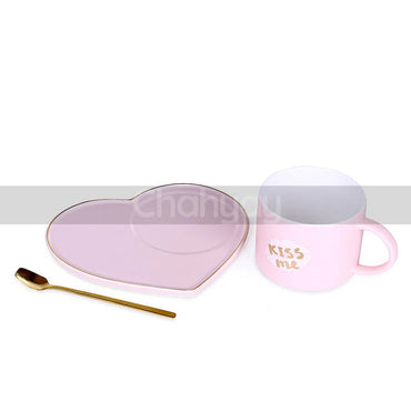 Pink Kiss Me Cup with Heart Shaped Saucer and Golden Spoon