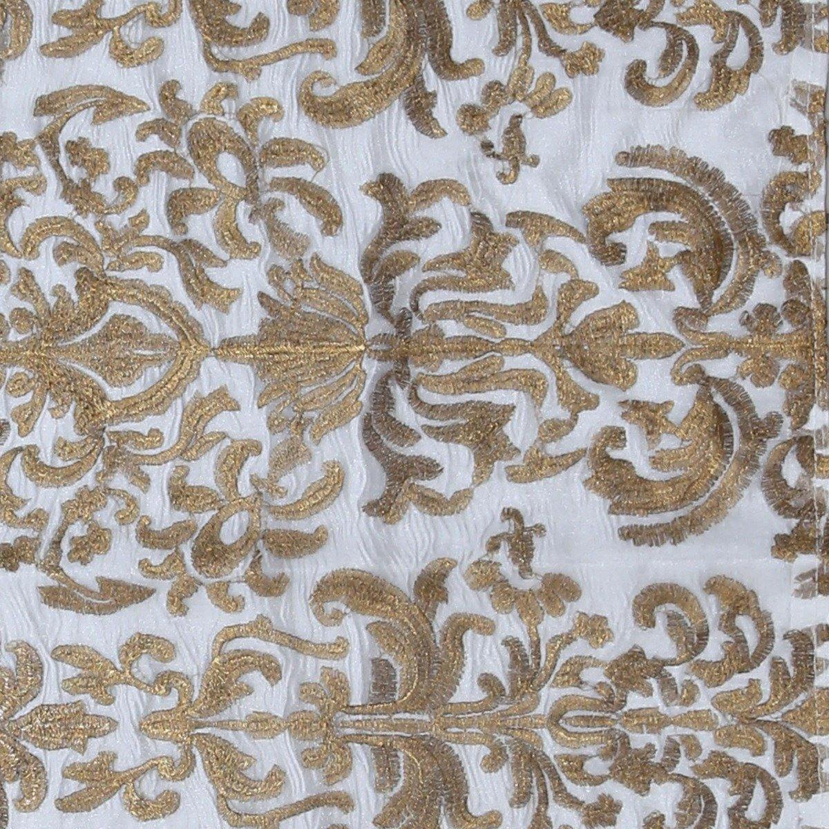 Half Yard Golden and Bronze Embroidered Organza Fabric Table Runner
