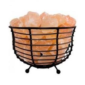 Decor NaturalSalt Air Purifying Bowl Style Basket Lamp with Salt Chunks, Bulb and Electric Wire