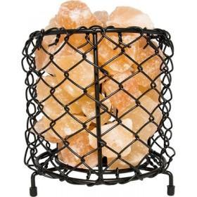 Decor NaturalSalt Air Purifying Cylinder Mesh Style Basket Lamp with Salt Chunks, Bulb and Electric Wire