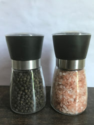 Pink Rock Salt Granulated and Whole Black Pepper with Grinder-Small Size