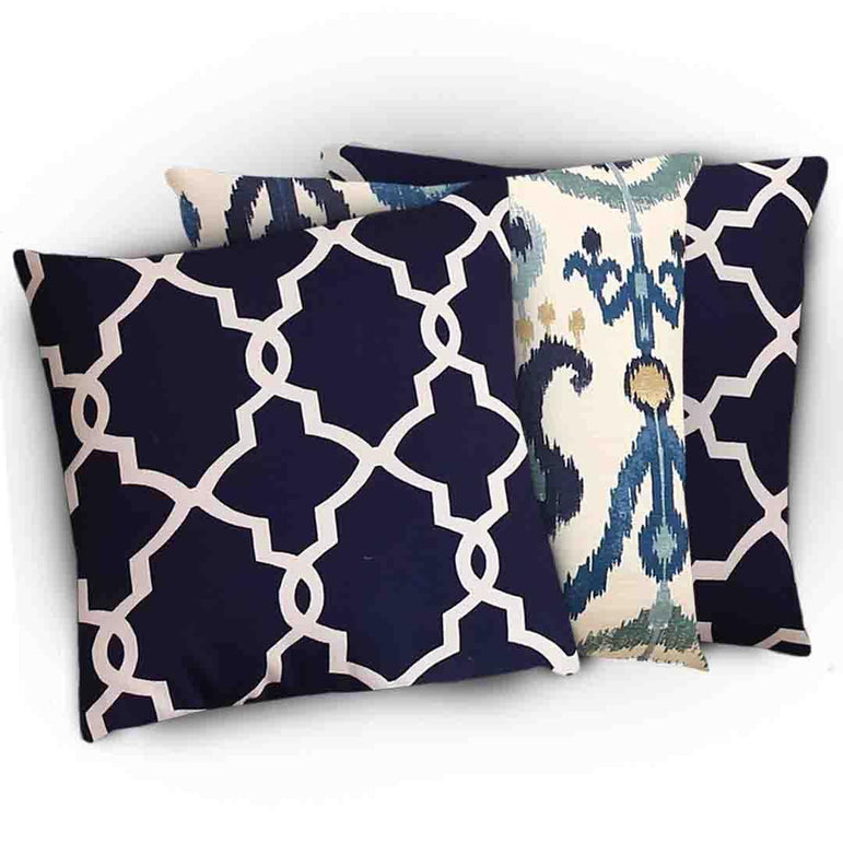 Set Of 3 Jacquard Cushion Covers