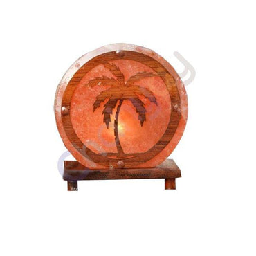 Salt Lamp Palm Tree Design Wooden Sheet