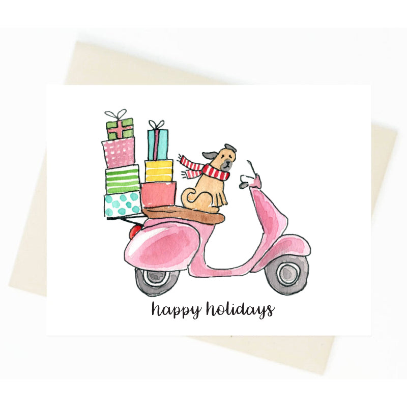 Happy Holidays Pug Vespa Card