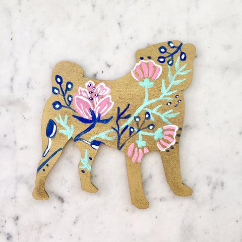 Wooden Pug Silhouette - Gold Floral