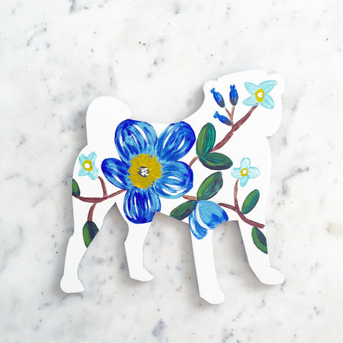 Wooden Pug Silhouette - Blue Floral