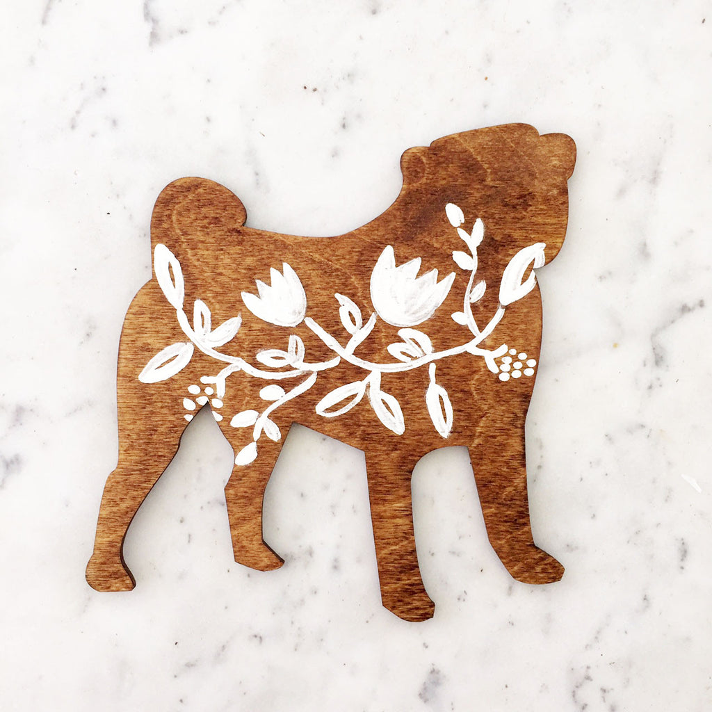 Wooden Pug Silhouette - White Floral