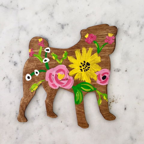 Wooden Pug Silhouette - Pink & Yellow Floral