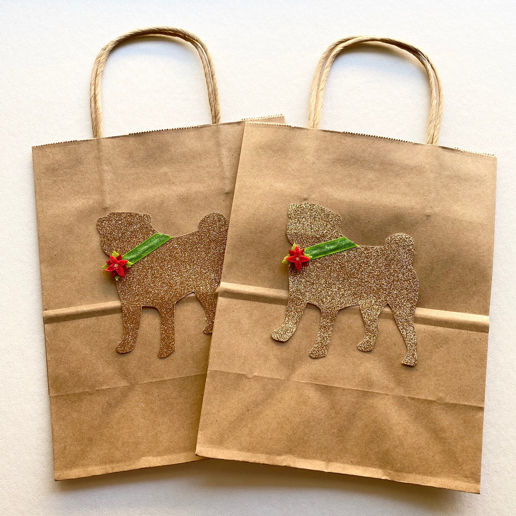 Pug Kraft Gift bags with Poinsettia flower