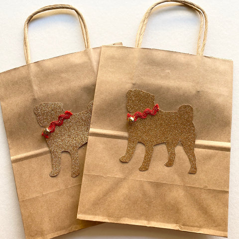 Pug Kraft Gift bags with Jingle Bell