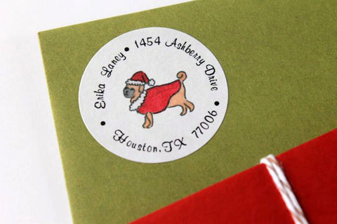 Santa Pug Christmas Return Address Labels