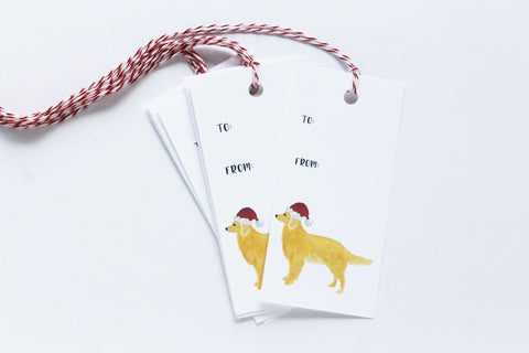 Santa Golden Retriever Gift Tags
