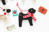 Valentine Pug Ornament - black pug with red collar