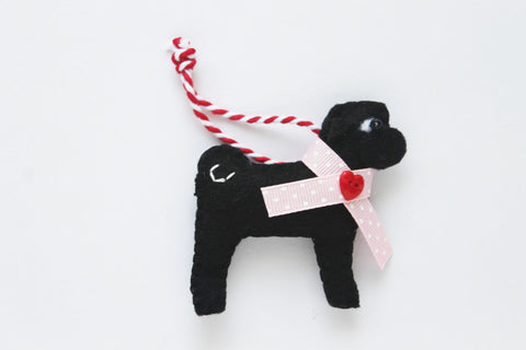 Valentine Pug Ornament - black pug with pink collar