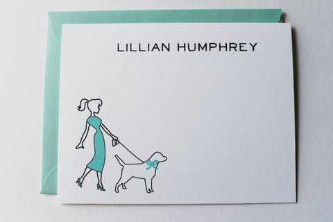Girl Walking Pooch Note Card