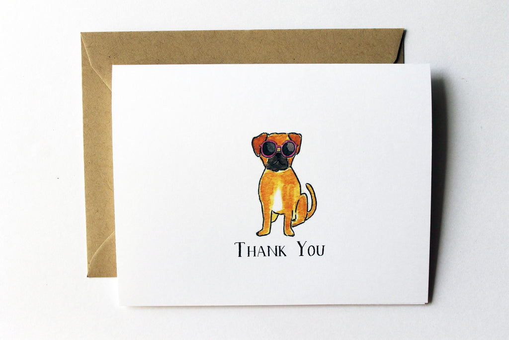 Puggle Thank You Card
