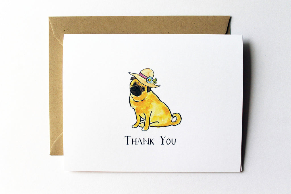 Fedora Pug Thank You Card