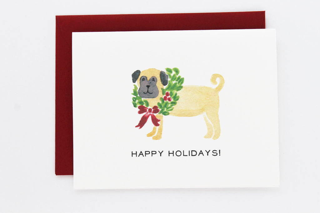Pug with Holiday Wreath Card