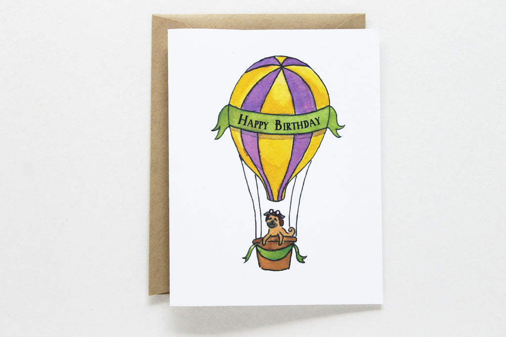 Striped Hot Air Balloon Birthday Card