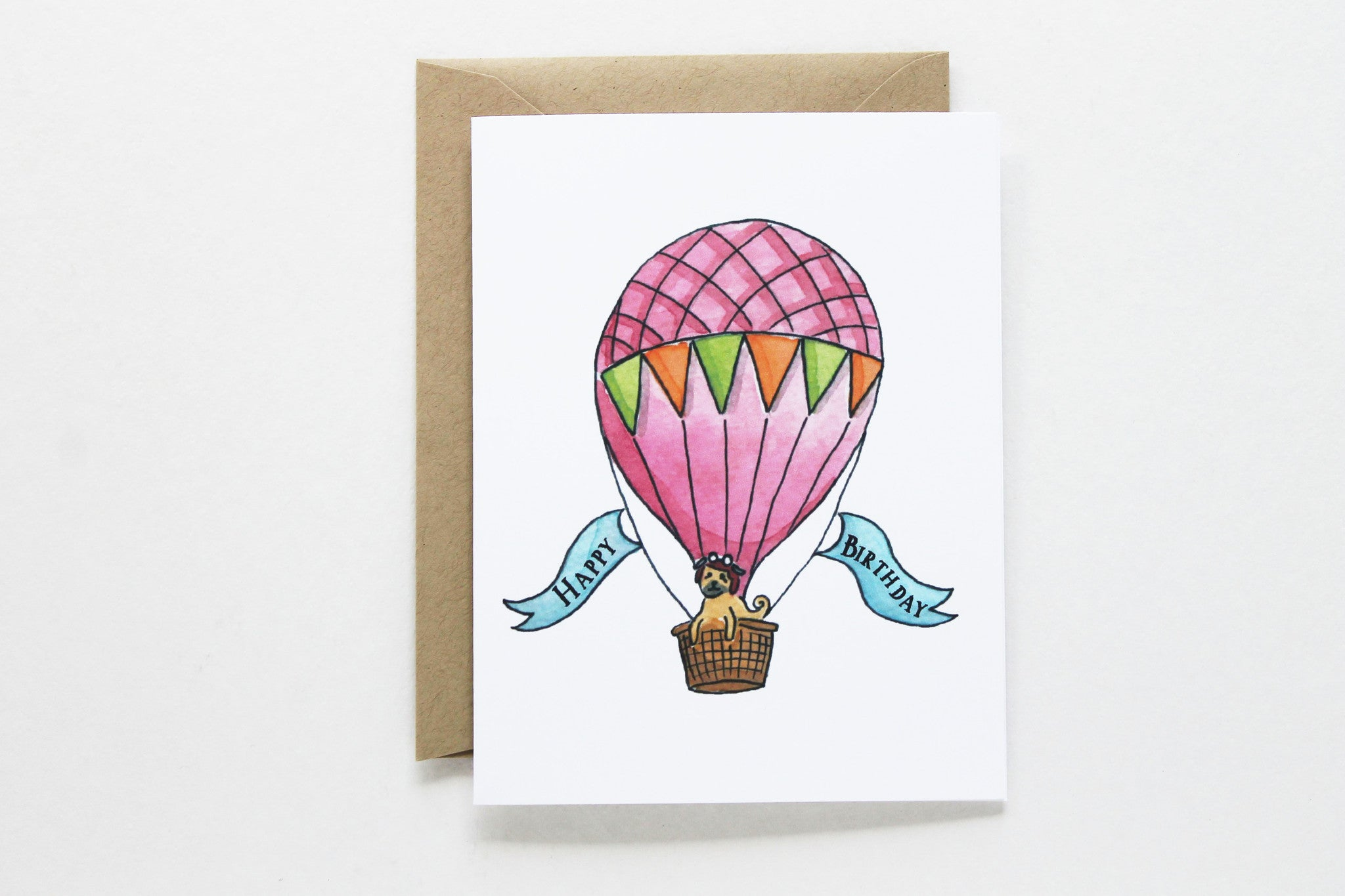 Red hot air balloon birthday card lydia pugs red hot air balloon birthday card bookmarktalkfo Image collections