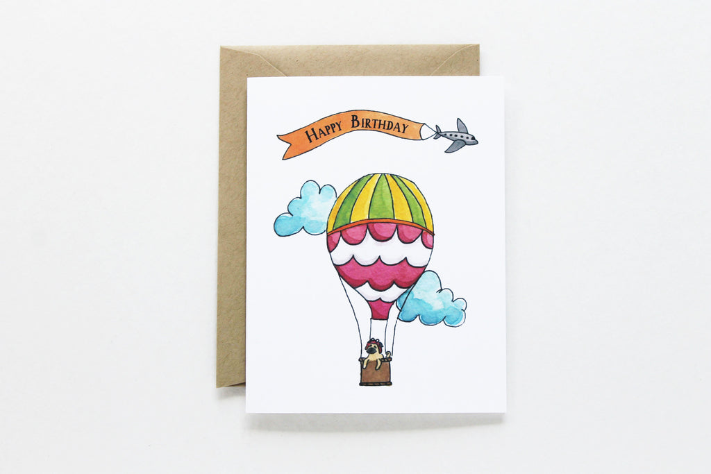 Scallop Hot Air Balloon Birthday Card
