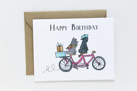 Birthday Tandem Dogs Card