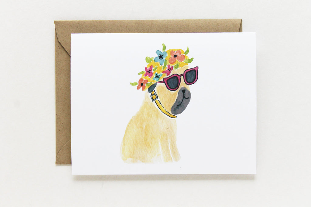 Bathing Cap Pug Card