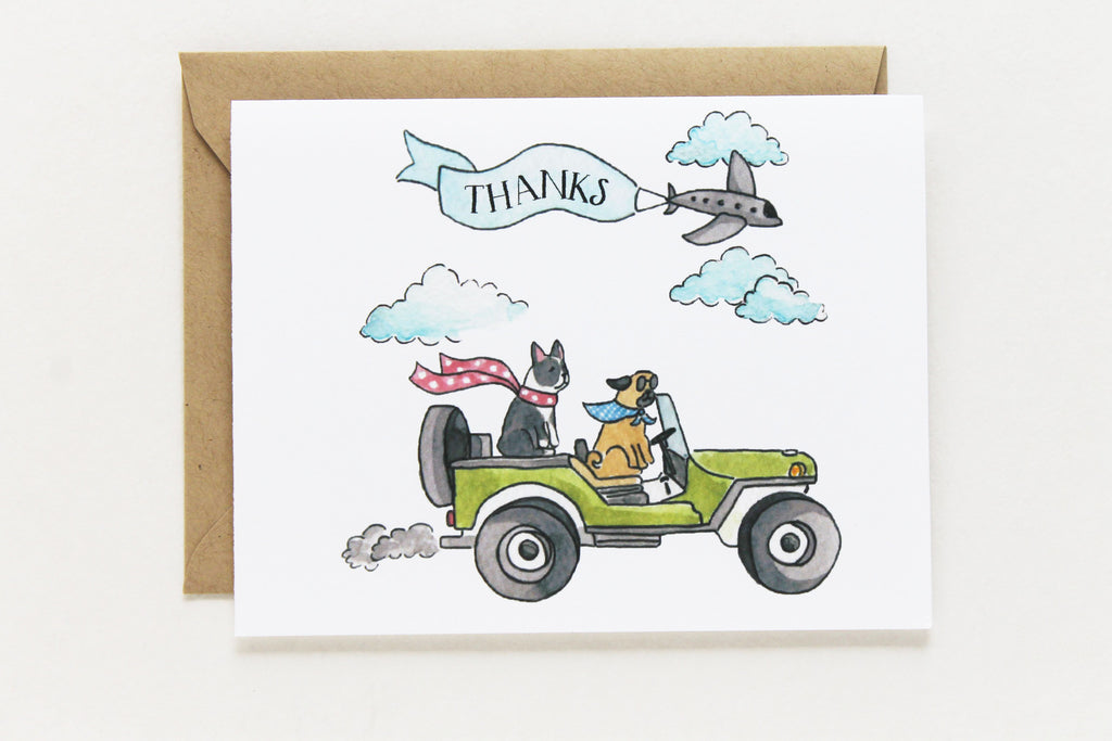 Jeep Dogs Thank You Card