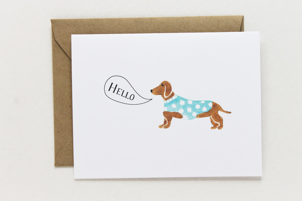 Hello Dachshund Card