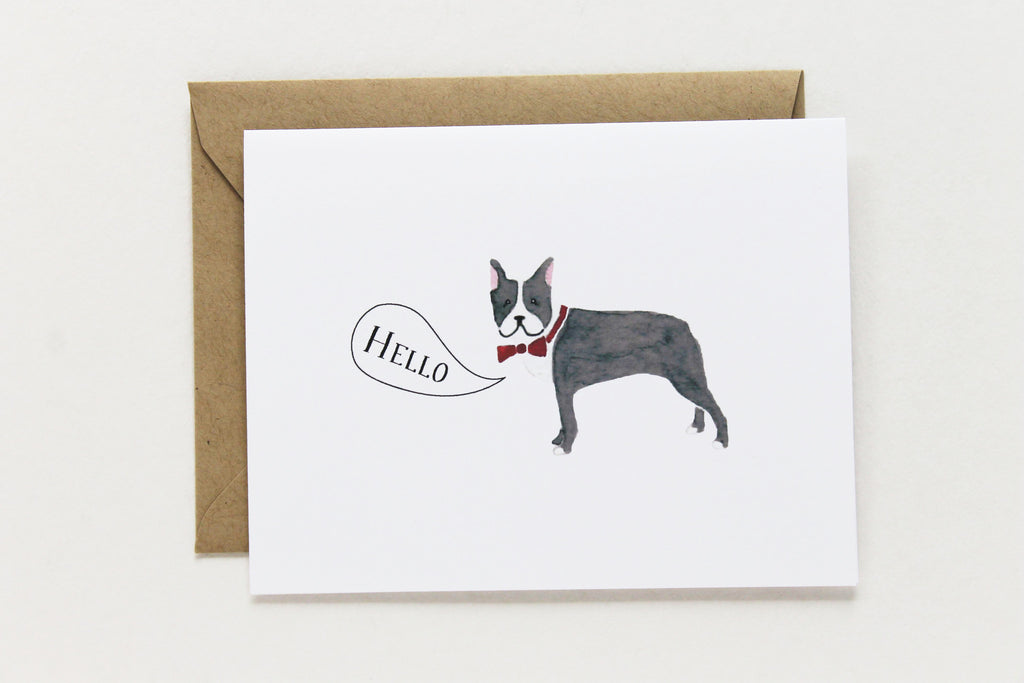 Hello Boston Terrier Card