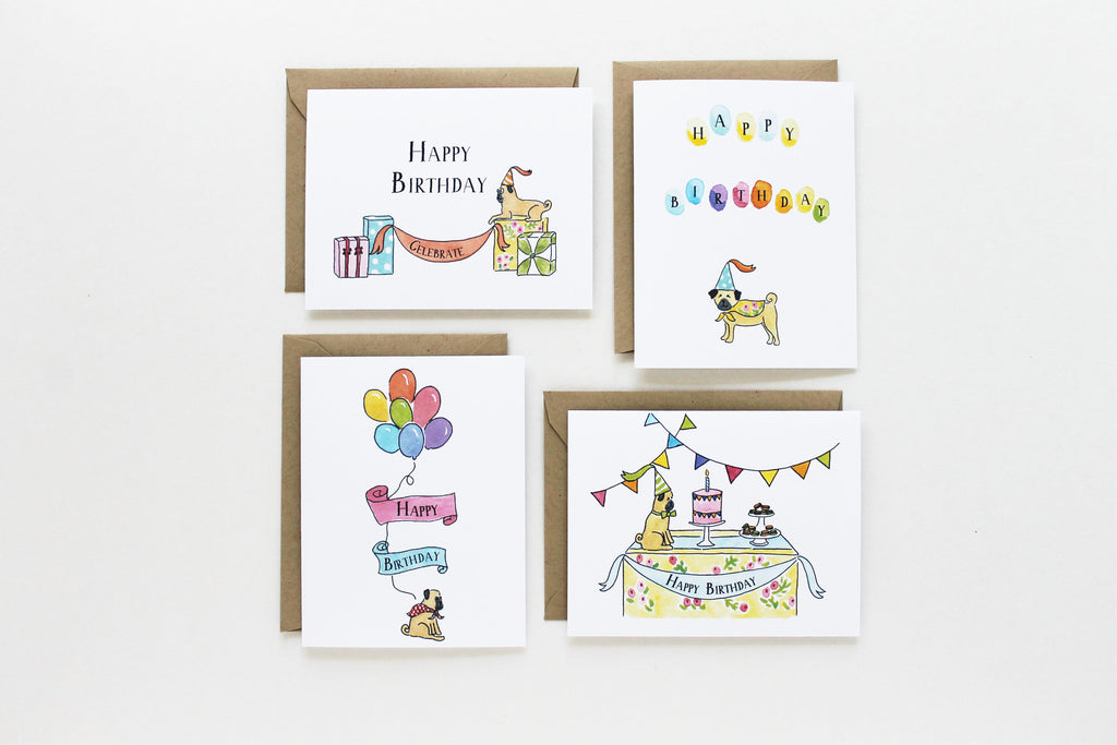 Assorted Birthday Pugs Set