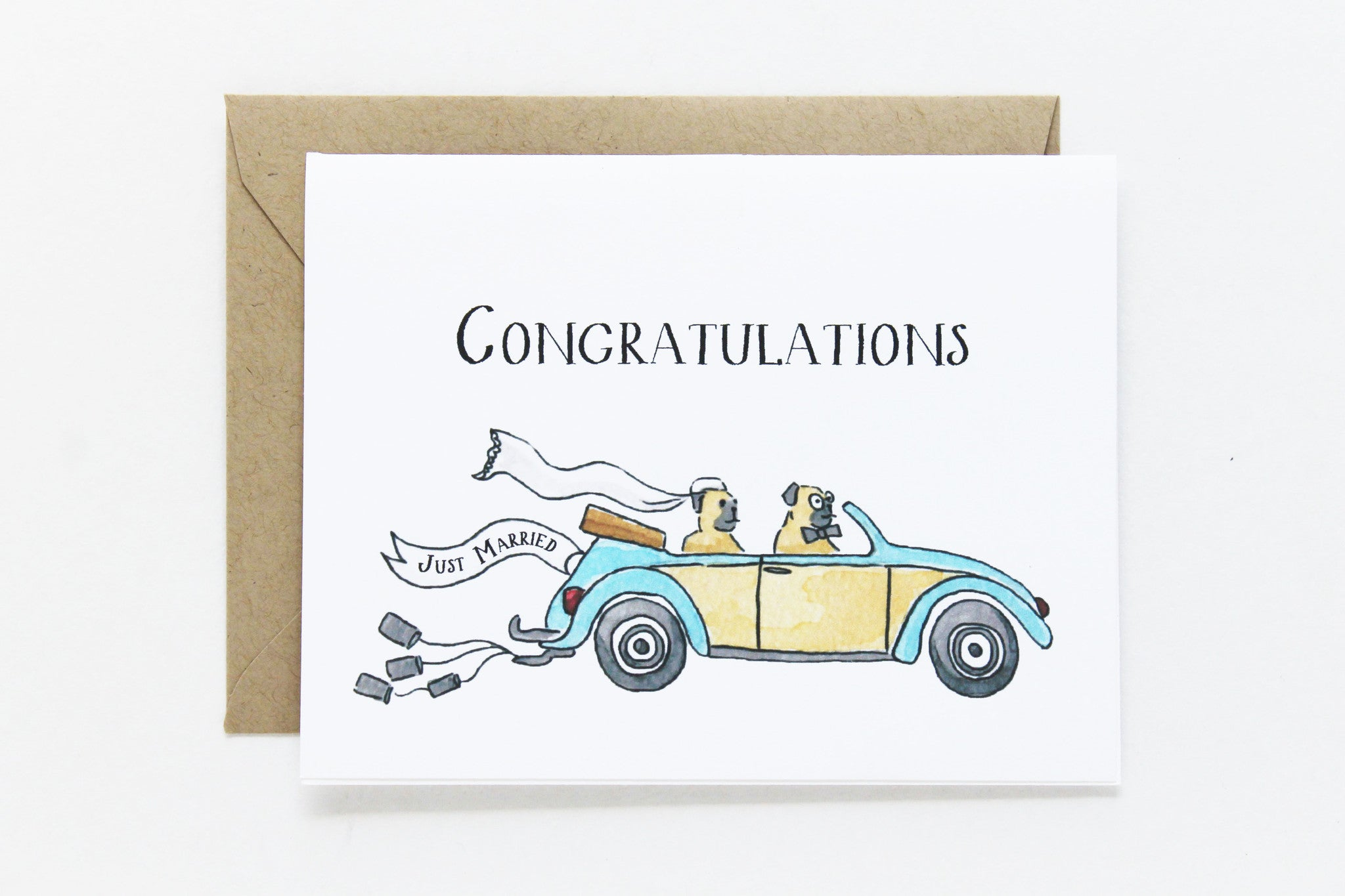 congratulations just married card  lydia  pugs