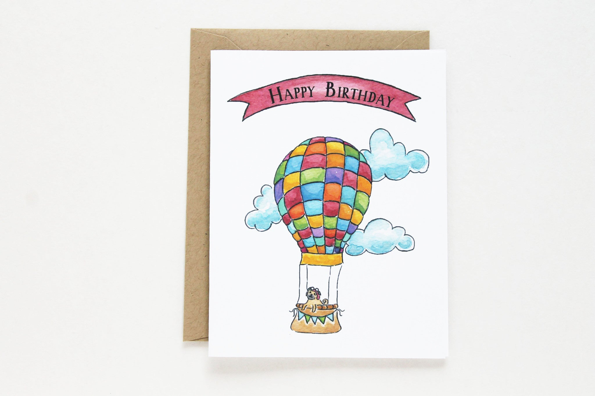 Multi color hot air balloon birthday card lydia pugs multi color hot air balloon birthday card bookmarktalkfo Image collections
