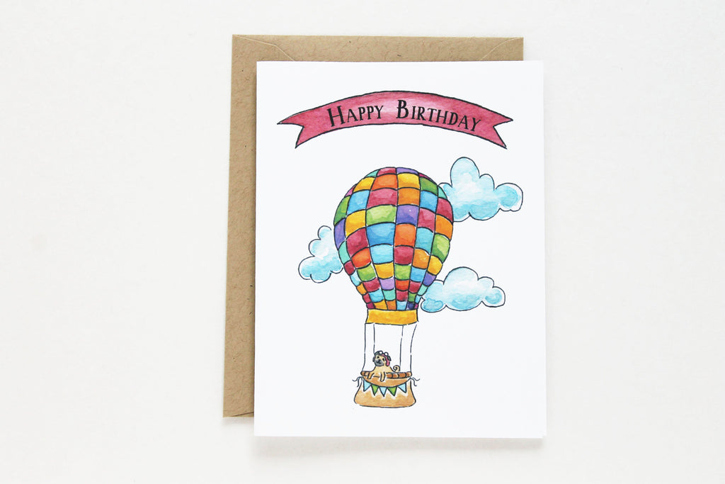 Multi-Color Hot Air Balloon Birthday Card