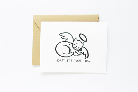 Cat Angel Sympathy Card