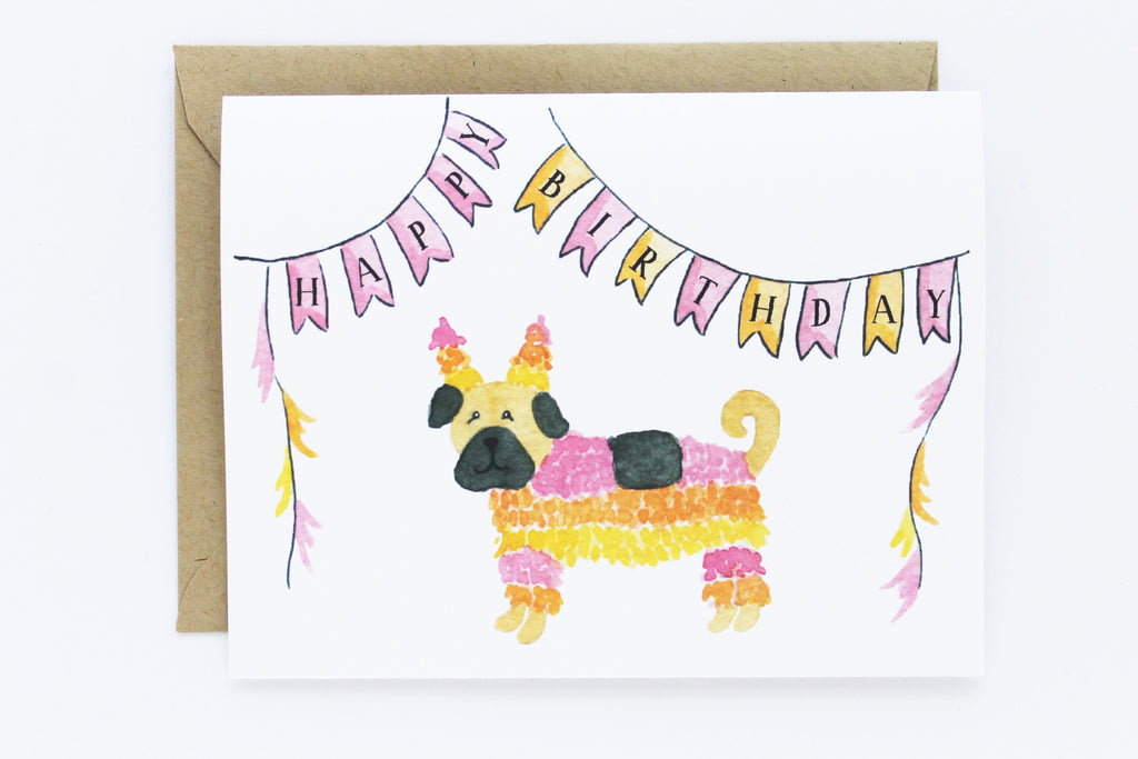 Piñata Pug Birthday Card