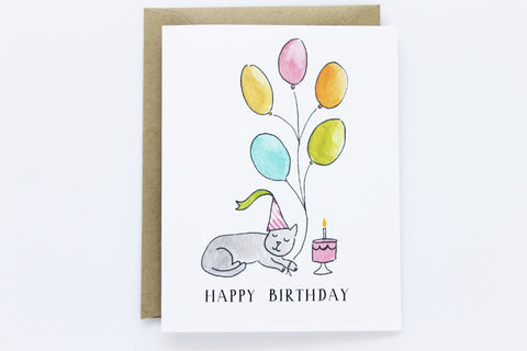 Cat Birthday Balloons Card